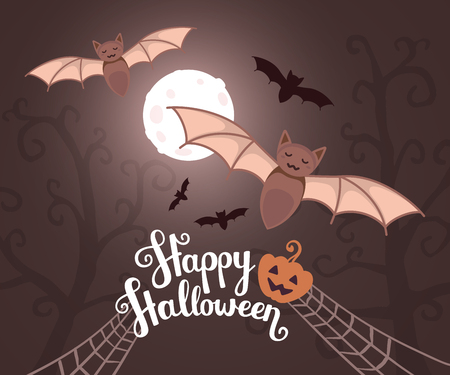 moonlit: Vector halloween illustration with flying bats on moonlit night on dark trees background with text, pumpkin, spider web. Flat style design for halloween greeting card, poster, web, site, banner.