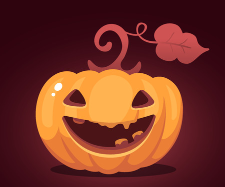 Vector halloween illustration of decorative orange pumpkin with eyes, smiles, teeth on dark background. Flat style design for halloween greeting card, poster, web, site, banner.