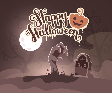 headstone: Vector halloween illustration of zombie hand in a graveyard with headstone, trees, text, pumpkin on dark background. Flat style design for halloween greeting card, poster, web, site, banner. Stock Photo