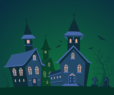 Vector halloween illustration of haunted house, cemetery, bats with trees on dark green background. Flat style design of scary castle for halloween greeting card, poster, web, site, banner.