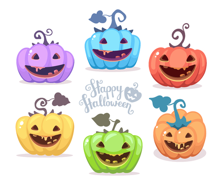 Vector halloween illustration of collection decorative colorful pumpkins with eyes, smiles, teeth and text happy halloween on white background. Flat style design for halloween greeting card, poster, web, site, banner.