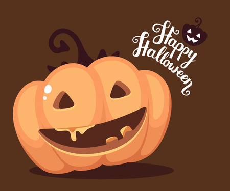 Vector halloween illustration of decorative orange pumpkin with eyes, smiles, teeth and text happy halloween on dark background. Flat style design for halloween greeting card, poster, web, site, banner.