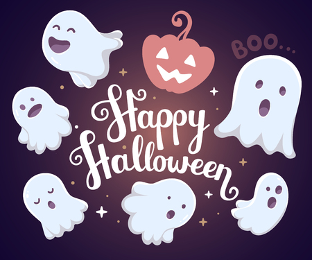 Vector halloween illustration of many white flying ghosts with eyes, mouths on dark background with words happy halloween and pumpkin. Flat style design for halloween greeting card, poster, web, site, banner Vettoriali
