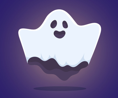 phantom: Vector halloween illustration of white flying ghost with eyes, mouth, hands on dark blue gradient background. Flat style design for halloween greeting card, poster, web, site, banner