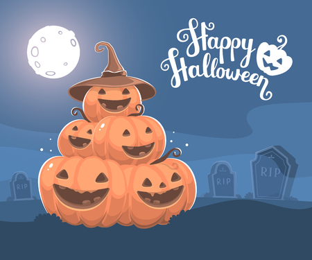headstone: Vector halloween illustration of pile of decorative orange pumpkins with hat, eyes, smiles, full moon, headstone at the cemetery and text happy halloween. Flat style design for halloween greeting card, poster, web, site, banner.