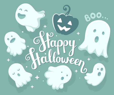 Vector halloween illustration of many white flying ghosts with eyes, mouths on light blue background with stars, words happy halloween and pumpkin. Flat style design for halloween greeting card, poster, web, site, banner
