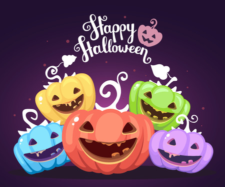 Vector halloween illustration of heap decorative pumpkins of different colors with eyes, smiles, teeth and text happy halloween on dark background. Flat style design for halloween greeting card, poster, web, site, banner.