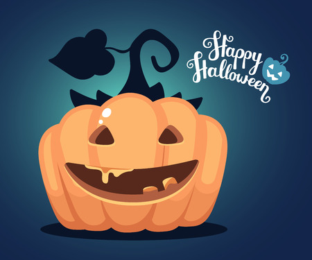 blue eyes: Vector halloween illustration of decorative orange pumpkin with eyes, smiles, teeth and text happy halloween on dark blue gradient background. Flat style design for halloween greeting card, poster, web, site, banner.
