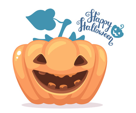 Vector halloween illustration of decorative orange pumpkin with eyes, smiles, teeth and text happy halloween on white background. Flat style design for halloween greeting card, poster, web, site, banner.