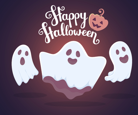 Vector halloween illustration of white flying three ghosts with eyes, mouths on dark blue gradient background with words happy halloween and pumpkin. Flat style design for halloween greeting card, poster, web, site, banner