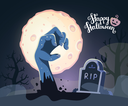 headstone: Vector halloween illustration of zombie hand in a graveyard with headstone, big full moon, trees, text, pumpkin on dark background. Flat style design for halloween greeting card, poster, web, site, banner.