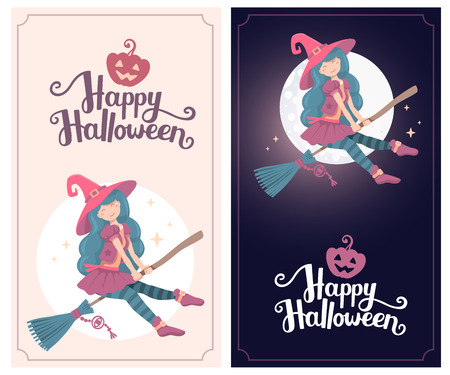 flying hat: Vector colorful template with halloween illustration of witch character with hat flying on a broomstick on the moon background. Flat style design for halloween greeting card, poster, banner, web, site
