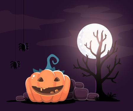 Vector halloween illustration of decorative orange pumpkin with eyes, smile, teeth, spiders, tree, moon on night background. Flat style design for halloween greeting card, poster, web, site, banner.