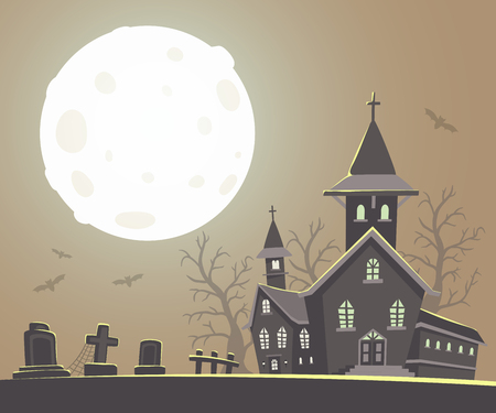 Vector Halloween Illustration Of Haunted House, Cemetery, Bats On ...