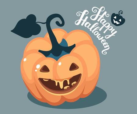 Vector halloween illustration of top view decorative orange pumpkin with eyes, smiles, teeth and text happy halloween on blue background. Flat style design for halloween greeting card, poster, web, site, banner.