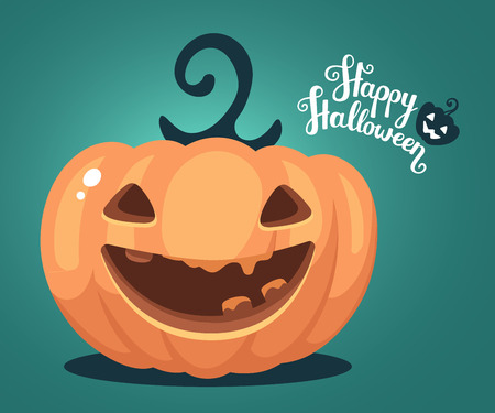 Vector halloween illustration of decorative orange pumpkin with eyes, smiles, teeth and text happy halloween on green gradient background. Flat style design for halloween greeting card, poster, web, site, banner. Ilustração
