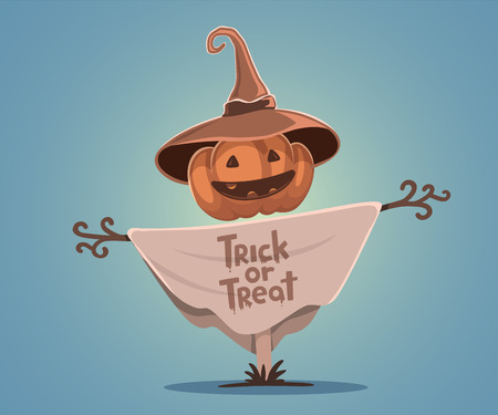 Vector halloween illustration of decorative scarecrow with head orange pumpkin with eyes, smile, teeth and hat on blue gradient background. Design for halloween greeting card, poster, web, site, banner.