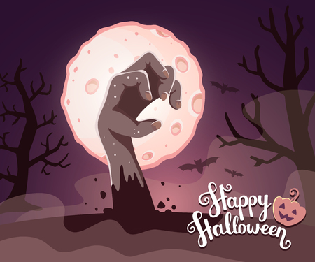 headstone: Vector halloween illustration of zombie hand in a graveyard with headstone, big full moon, trees, bats, text, pumpkin on dark background. Flat style design for halloween greeting card, poster, web, site, banner. Illustration