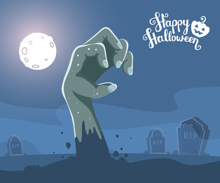 headstone: Vector halloween illustration of zombie hand in a graveyard with headstone, full moon, trees, bats, text, pumpkin on dark background. Flat style design for halloween greeting card, poster, web, site, banner.