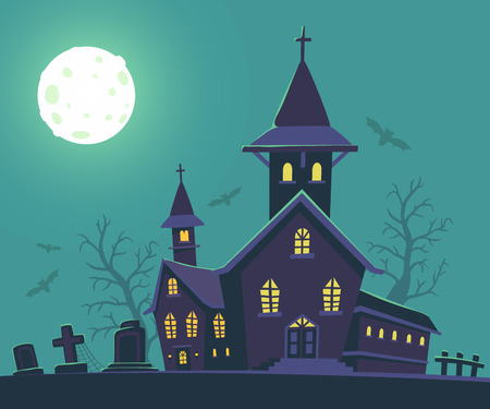 necropolis: Vector halloween illustration of haunted house, cemetery, bats, full moon on blue background with trees. Flat style design of scary castle for halloween greeting card, poster, web, site, banner.