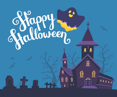 necropolis: Vector halloween illustration of haunted house, cemetery, bats on dark blue background with trees, text, glowing ghost. Flat style design of scary castle for halloween greeting card, poster, web, site, banner.