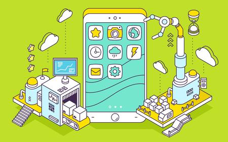 電話と 3 次元機構コンベアと緑の背景のロボットハンドのベクトル イラスト。アプリのコーディング、プログラミング、エンジニア リングします。