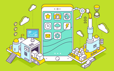 Vector illustration of phone and three dimensional mechanism with conveyor and robotic hand on green background. Apps coding, programming, engineering. 3d thin line art style design 일러스트