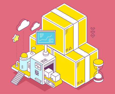 depot: Vector illustration of yellow box, hourglass and three dimensional mechanism with conveyor and monitor on red background. Delivery, sorting and storage of goods. 3d thin line art style design