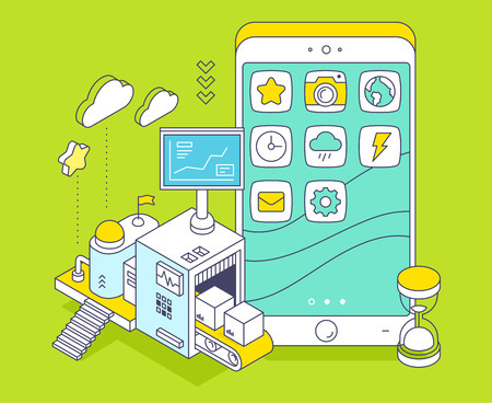 Vector illustration of phone and three dimensional mechanism with conveyor and monitor on green background. Apps coding, programming, engineering. 3d thin line art style design Illustration