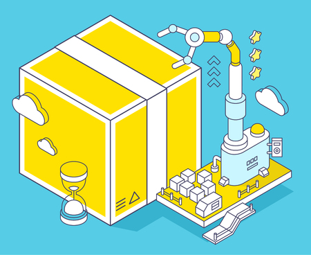 Vector illustration of yellow box, hourglass  and three dimensional mechanism with robotic hand on blue background. Delivery, sorting and storage of goods. 3d thin line art style design