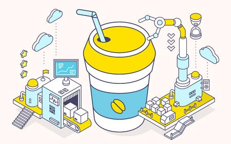 Vector illustratie van kop koffie, eten en driedimensionale mechanisme met lopende en robot hand op lichte achtergrond. Dienst van het maken van koffie. 3d dunne lijn art style design