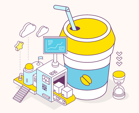 Vector illustration of cup coffee takeaway, hourglass and three dimensional mechanism with conveyor and monitor on light background. Service of making coffee. 3d thin line art style design