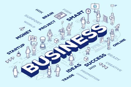 人とタグ方式で青の背景に 3 つの次元のビジネスのベクトル イラスト。ビジネス構造の概念。3 d の細い線アート スタイルのデザイン web サイト、バ