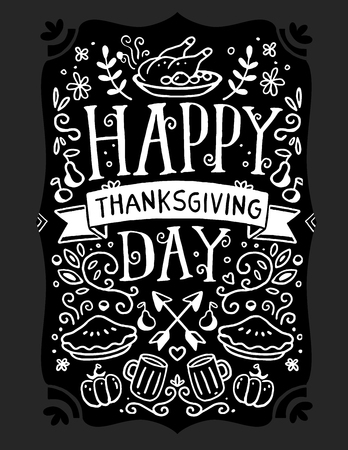 Vector thanksgiving illustration with roasted turkey, vegetables, leaves and text happy thanksgiving day on black background. Flat hand drawn line art style black white design for greeting card, poster, web, site, banner, print
