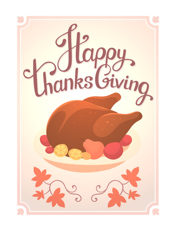 deep fried: Vector thanksgiving illustration with deep fried turkey and text happy thanksgiving in frame on white background with leaves. Flat hand drawn style celebration design for greeting card, poster, web, site, banner, print