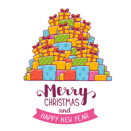 Vector illustration of colorful high pile of christmas gifts and handwritten text merry christmas on white background. Hand draw flat line art design for web, site, banner, poster, print, greeting card