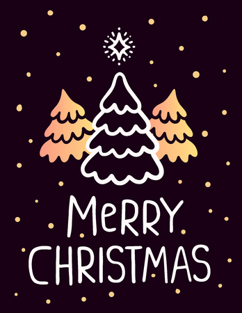 christmas three: Vector illustration of golden color christmas three fir trees with white handwritten text merry christmas and snow on dark background. Hand draw stylized design for web, site, banner, poster, print, greeting card
