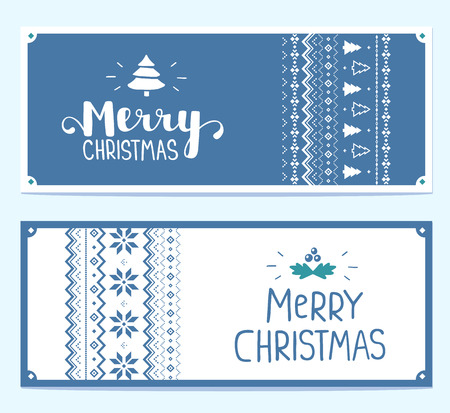 Two vector christmas stylized illustration with handwritten text merry christmas and knitting pattern on white and blue background. Hand draw design for web, site, banner, poster, print, greeting card