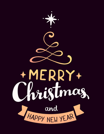 greet card: Vector illustration of golden color stylized christmas fir tree with handwritten text merry christmas and ribbon on dark background. Hand draw design for web, site, banner, poster, print, greeting card Illustration