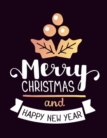 shinny: Vector illustration of golden color christmas mistletoe with handwritten text merry christmas and happy new year on dark background. Hand draw flat stylized design for web, site, banner, poster, print, greeting card