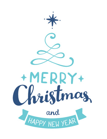 Vector illustration of green color stylized christmas fir tree with handwritten text merry christmas and ribbon on white background. Hand draw design for web, site, banner, poster, print, greeting card  イラスト・ベクター素材