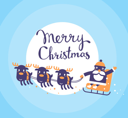 santa sleigh: Vector christmas illustration of flying santa claus on sleigh and reindeers with handwritten text merry christmas on blue background with moon. Hand draw flat design for web, site, banner, poster, print, greeting card