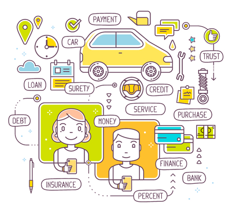 budget repair: Vector illustration of talking man and woman by phone about buying a car on credit. Taking a consumer loan on white background. Thin line art flat design of decision on bank credit Illustration