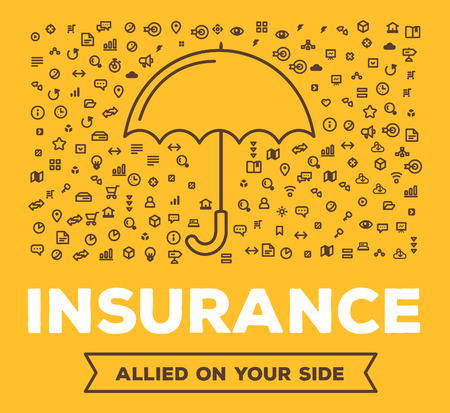Ilustración vectorial creativa de gran paraguas con el conjunto de iconos de líneas y la tipografía palabra sobre fondo amarillo. Todos los tipos de evento concepto de seguro. Diseño delgado estilo de gráficos de línea para el seguro