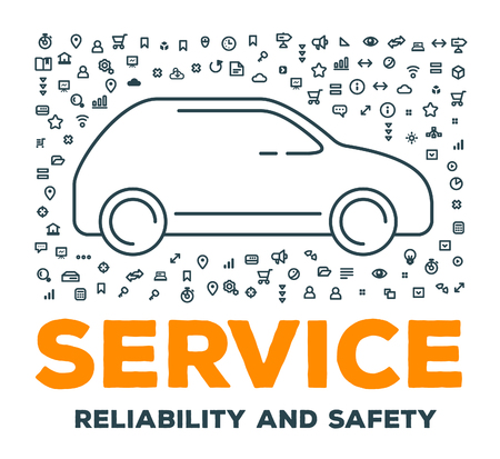 safety slogan: Vector creative illustration of big car with set of line icons and word typography on white background. Car service and maintenance concept. Thin line art style design for car repair, wash, parking
