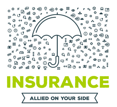 illness: Vector creative illustration of big umbrella with set of line icons and word typography on white background. All types of insurance event concept. Thin line art style design for insurance