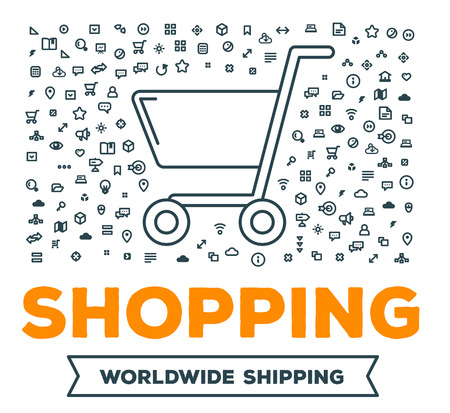 Vector creative illustration of big shopping trolley with set of line icons and word typography on white background. Online shopping concept. Thin line art style design for e-shop service and app