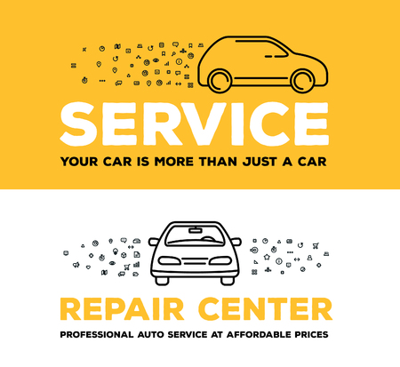 Vector creative illustration of car with set of line icons and word typography on white and yellow background. Car service and maintenance concept. Thin line art style design for car repair, wash, parking