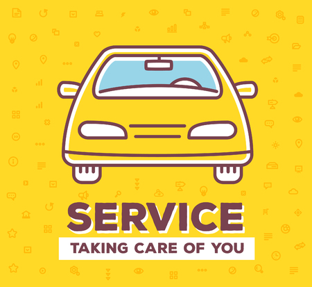 car care center: Vector creative illustration of frontal view car with pattern of line icons and word typography on yellow background. Car service and maintenance concept. Flat thin line art style design for car repair, wash, parking