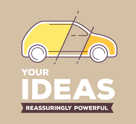 Vector creative retro color illustration of yellow linear car with header on brown background. Your design of car concept. Flat thin line art style design for realization of your ideas
